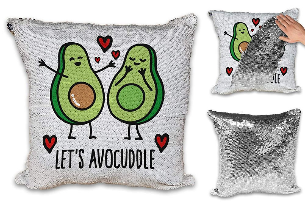 Let's Avocuddle Cute Love Sequin Reveal Magic Cushion Cover